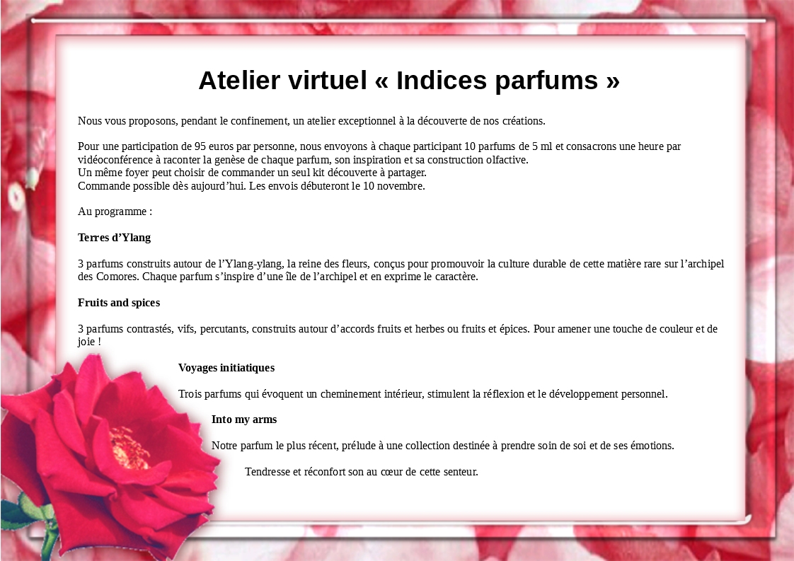 Atelier virtuel « Indices parfums »